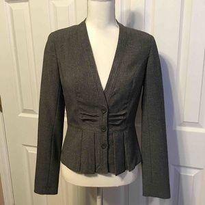Worthington Gray Pleated Collarless Jacket